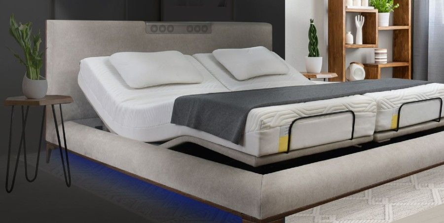 Adjustable smart bed in the biophilic wellness category.