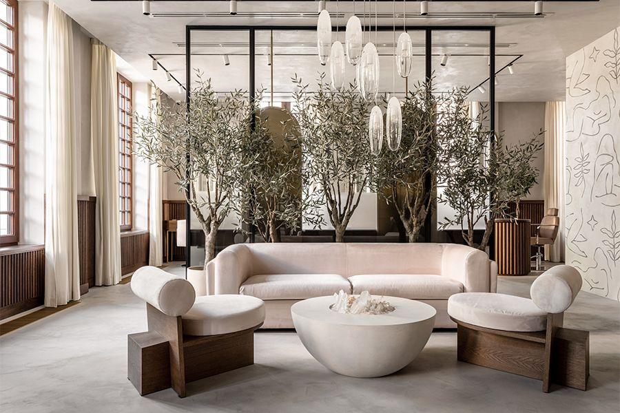 Biophilic lounge area of self-care salon in Russia.