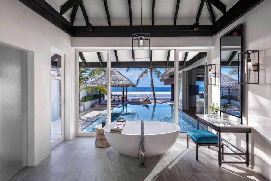 Bathhouse at the Maldives luxury resort.