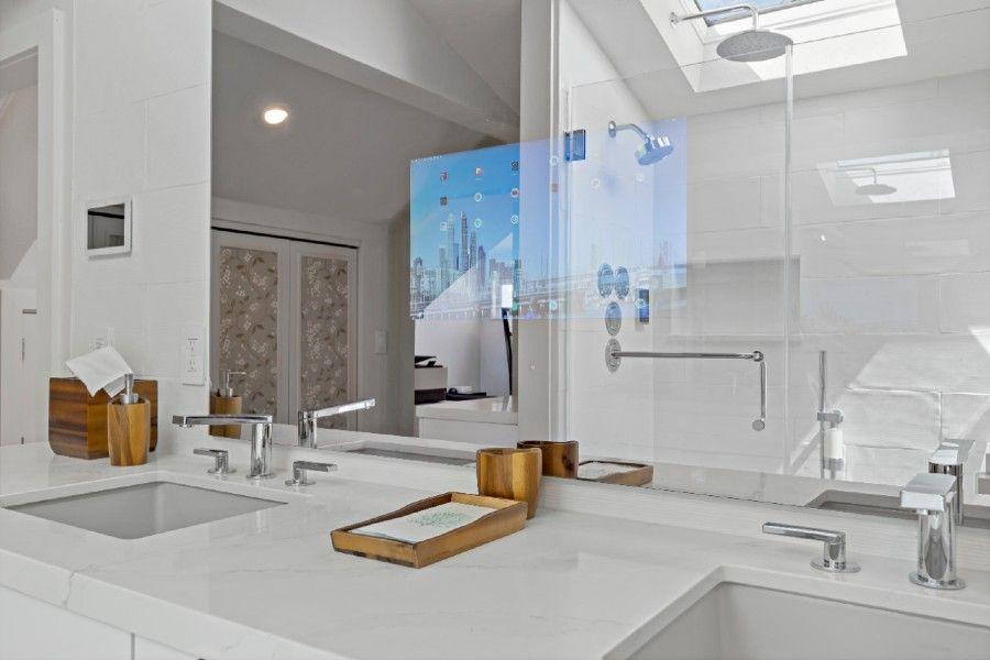 Smart bathroom glass in the cyberManor smart home.