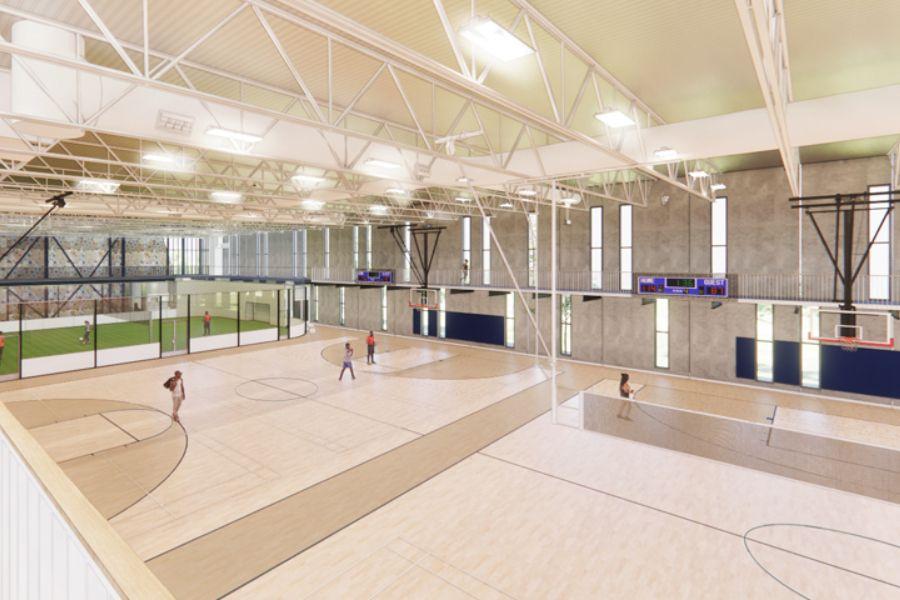 Concept work of gymnasium at Montana State University Wellness Center.
