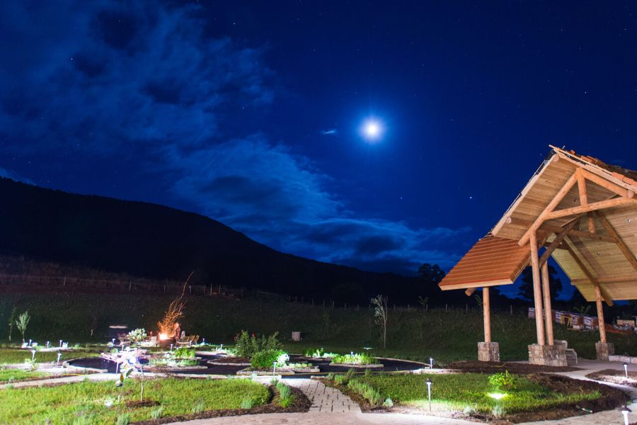 Night-time view at the Eupepsia Wellness Resort, rated the best wellness resort by USA Today readers.