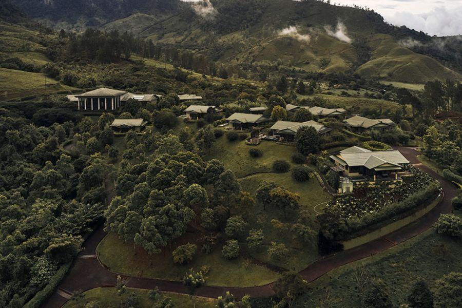 Overhead shot of The Well health spa at Hacienda AltaGracia.