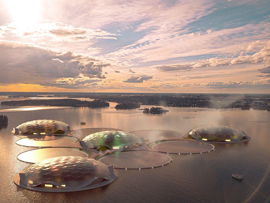 Eco-friendly urban developments at the Hot Heart along the coast of Helsinki.